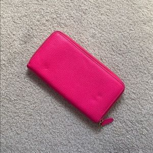 Anthropologie 100% hot pink leather wallet